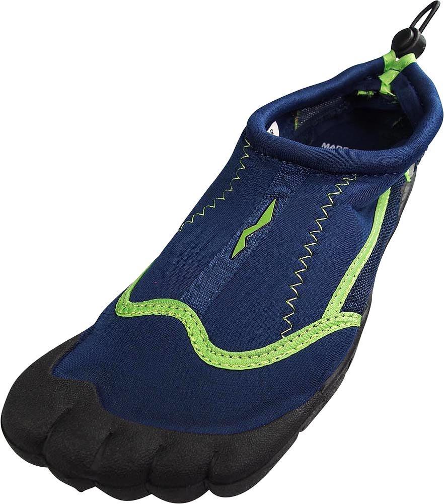 NORTY - Mens Skeletoe Aqua Water Shoes Pool Beach, Surf, Snorkeling, Exercise Slip on Sock, Navy, Lime 38860-8D(M) US
