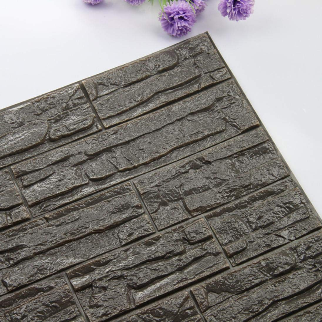 Clearance!!! Hongxin 60x30cm 3D Stone Brick PE Foam Wallpaper Posters Wall Stickers Safety Wall Decor Living Room Kitchen Home Improvement Decoration Christmas Decor (M)