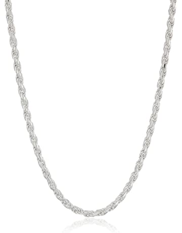 dfaa37cec Amazon Essentials Plated Sterling Silver Diamond Cut Rope Chain Necklace