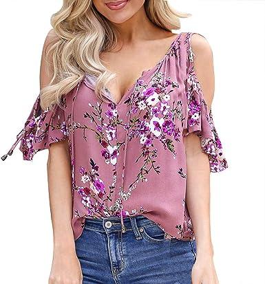 Warmword Blusa Mujer Sexy, Camiseta de Verano Mujer Sexy del Hombro Tops Casuales Blusa Camisa de Gasa de Florales Blusas para Mujer Elegantes Camisas Mujer de Vestir: Amazon.es: Ropa y accesorios