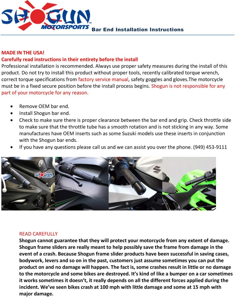 Shogun Honda CBR1000RR CBR1000 CBR 1000 RR 2017 2018 2019 SP SP2 Complete Kit Black Includes Bar Ends Swing Arm Spools and Frame Sliders Fits ABS /& NON ABS Models 755-3959 MADE IN THE USA