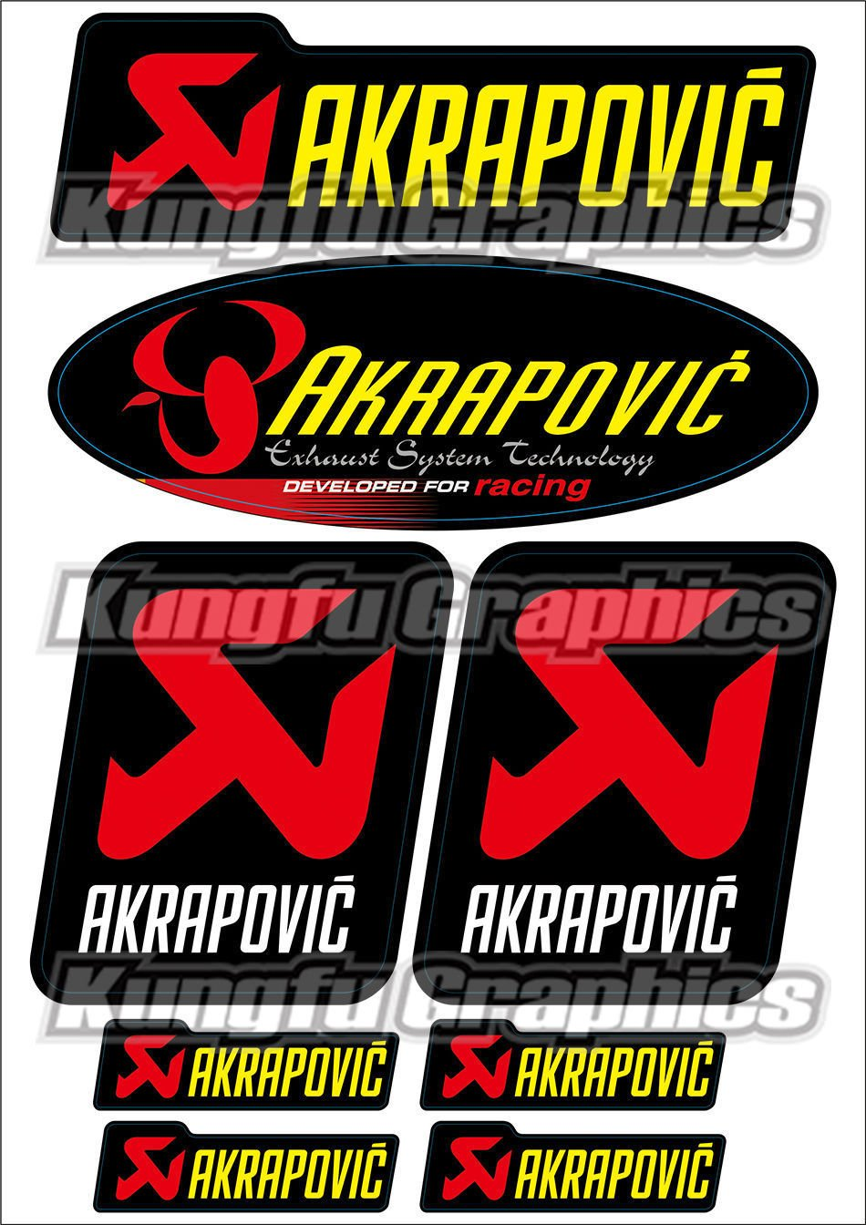 Kungfu Graphics Akrapovic Exhaust Micro Sponsor Logo Racing Sticker Sheet Universal (7.2x 10.2 inch), Black HUMA ART CREATIVE CO. LTD COMINU019987
