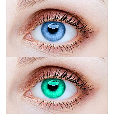 Buy Eycog 2 Pair Aqua Sea Blue Monthly Colored 0 Power Contact Lenses For Eyes Men And Women With Lens Case Online At Low Prices In India Amazon In