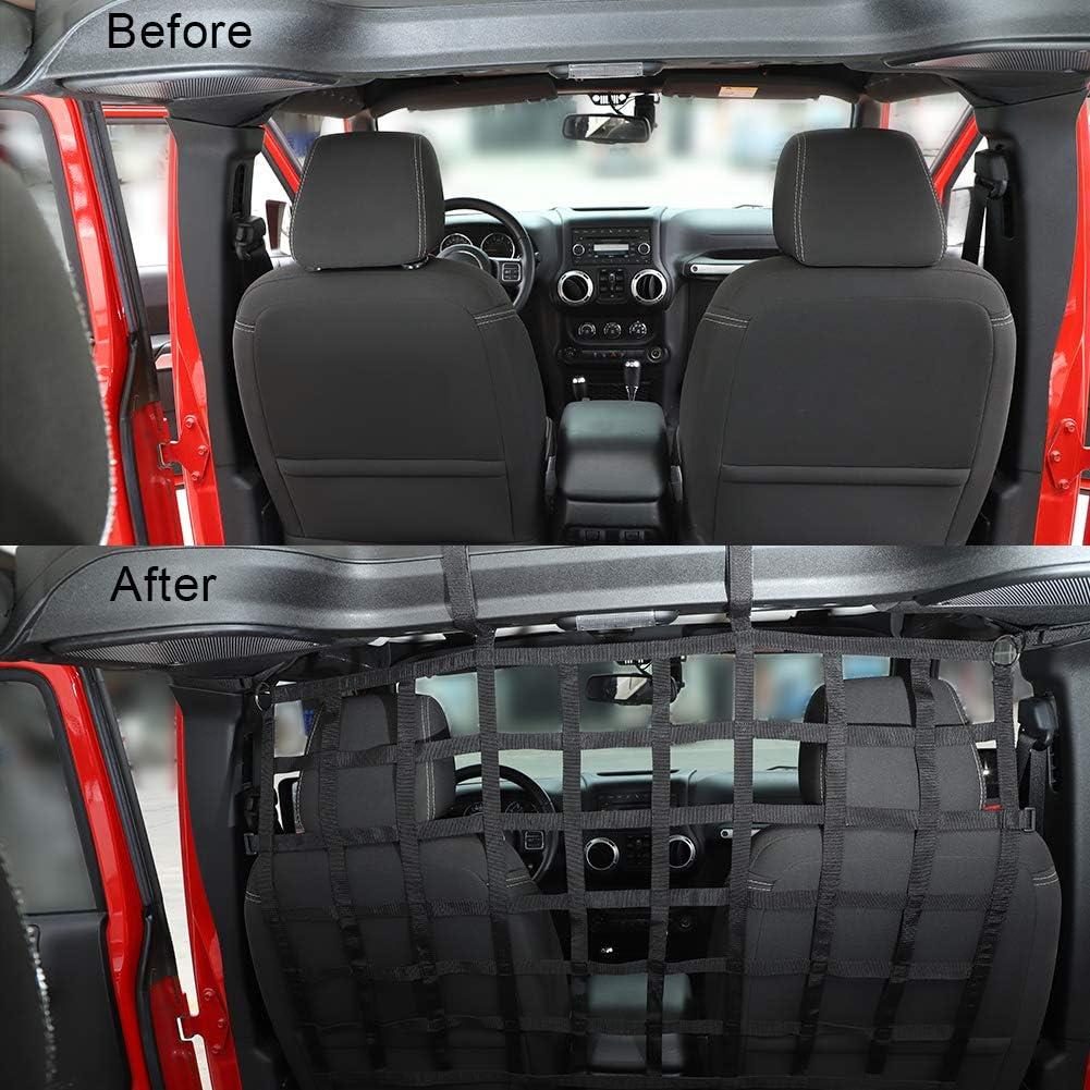 Mesh Cargo Net Dog Car Barrier for 2007-2020 Jeep Wrangler JK JL Gladiator JT 2DR 4DR JeCar for Jeep Rear Seat Divider Net Black