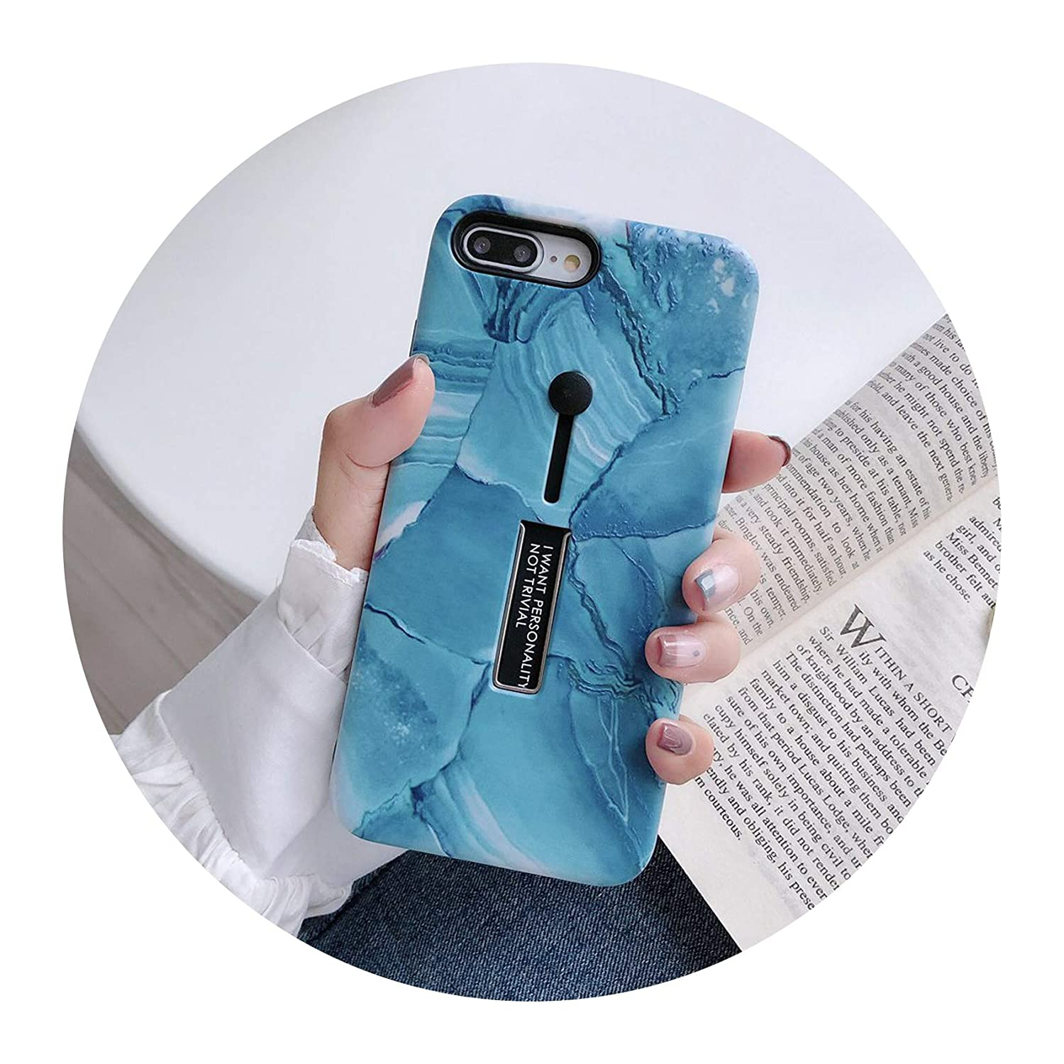 premium selection dd4f3 8a27c for iPhone 7 8 Plus X XS MAX XR Marble Shockproof Phone Cases for iPhone 6s  Flower Loop Ring Case 2 in 1,A2 deep Blue,for iPhone Xs MAX
