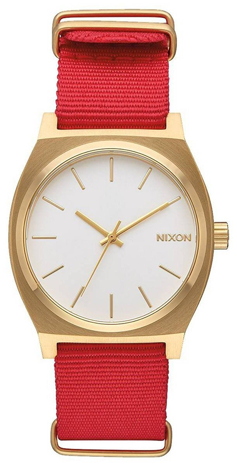 Nixon Unisex The Time Teller X Nato Collection Gold/White/Red One Size by NIXON