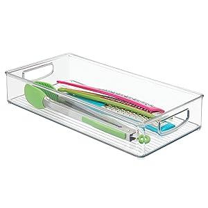 """InterDesign Plastic Kitchen Organizer Binz with Handles for Pantry, Refrigerator, Freezer, and Storage Cabinet, 16"""" x 8"""" x 3"""" Clear"""