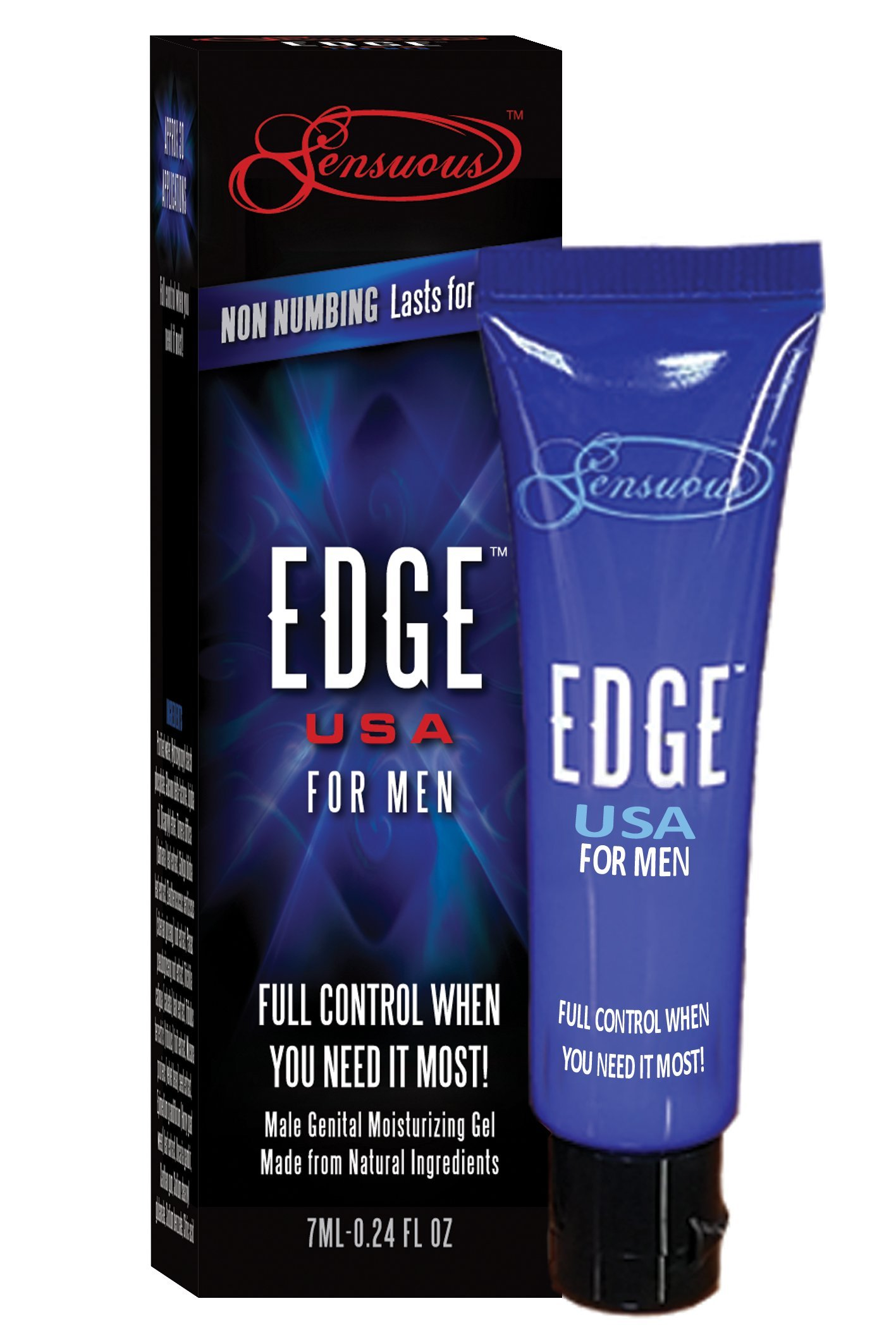 Edge Delay Gel: Ultimate Staying Power: Natural Delay Gel for Men, Prolonging and Desensitizing Delay for Men (30 Applications) NO Lidocaine, NO Numbing and LONG Lasting! Pocket Size Tube! (7ml)