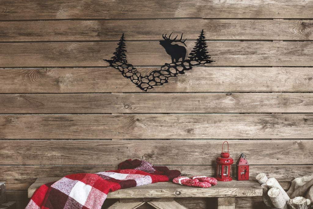 Big Game Steel Elk Mountain Scene Metal Wall Art Sign for Home Cabin Decor Laser Cut (Black)