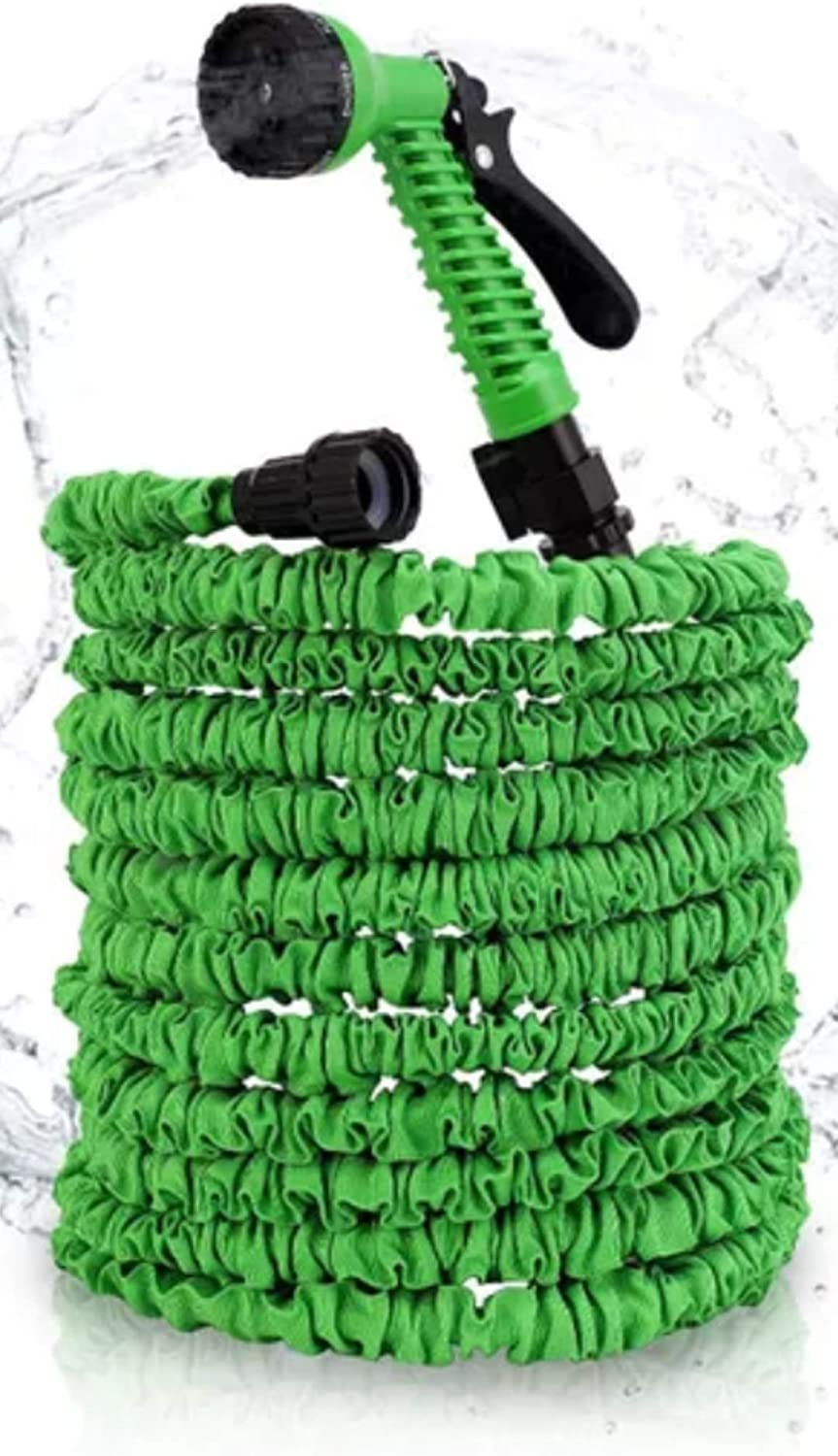 Pro Family New Upgraded Garden Hose - Expandable Triple Latex Core & Thickened Outside Fabrics Water Hose, No Kink & Twist, Comes with 7 Functions Gun and Black Hook for Easy Storage - 75FT Green