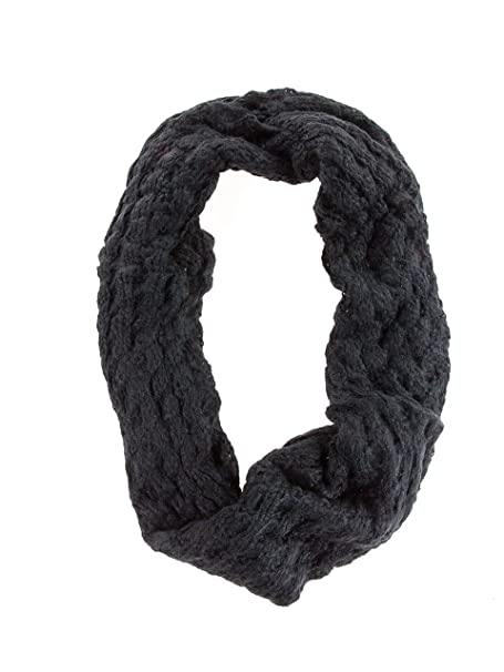 Waffle Patterned Knit Infinity Circle Scarf Black At Amazon