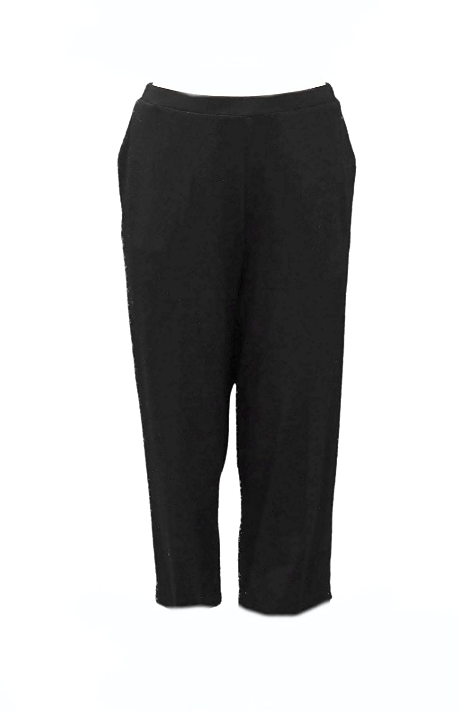 RE.LAX by LYNN RITCHIE Womens Pull On Knit Capri Pant Sz XL Black 230539E