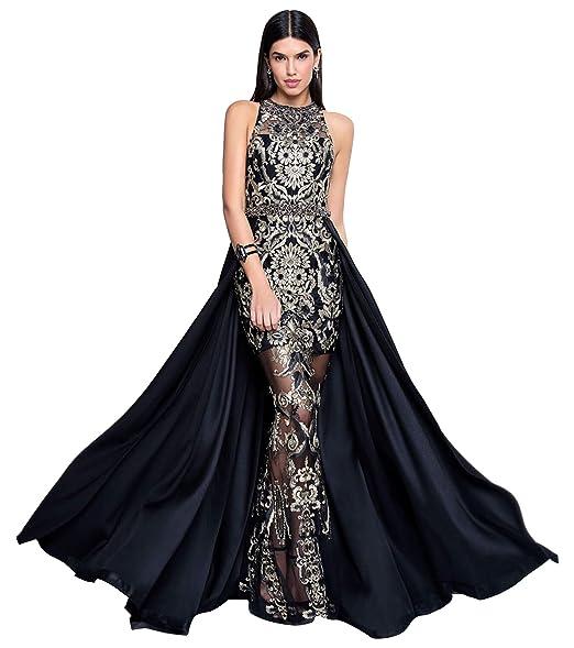 promo code 1c540 86dde Terani Couture Vestido Largo con Falda Bordada sin Mangas y ...