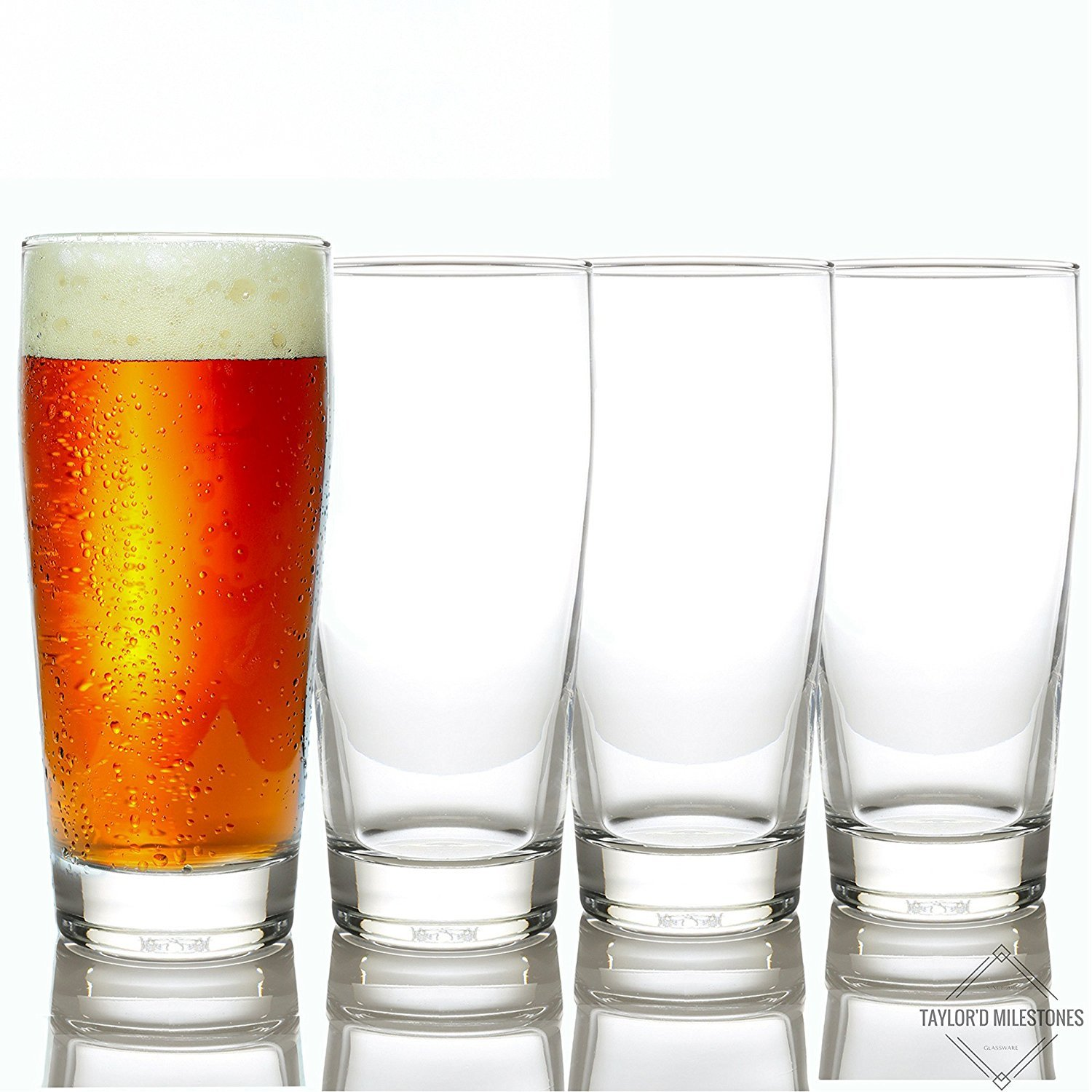 Taylor'd Milestones Premium Beer Glasses - 16 oz Stackable Set of 4, Heavy Base for Stability and Freshness, Durable Glassware for Everyday Use & Home Bars.