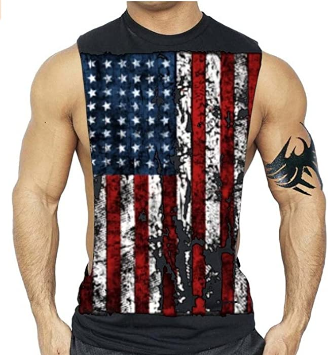 Men/'s American Muscle Black Workout Vest Tank Top Fitness Beast Gym US USA Tee
