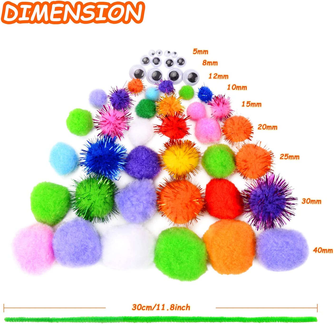 250 Pieces 6 Sizes Assorted Pom Poms 100 Pieces Glitter Pompoms and 150 Pieces Wiggle Googly Eyes for DIY Arts Crafts ZHAOER 200 Pieces Chenille Stems