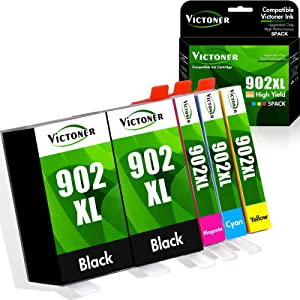 Victoner Compatible Ink Cartridge Replacement for HP 902XL 902 XL Ink Cartridges to use with HP Officejet Pro 6978 6968 6962 6958 6970 Printer ( Black Cyan Magenta Yellow 5 Packs )