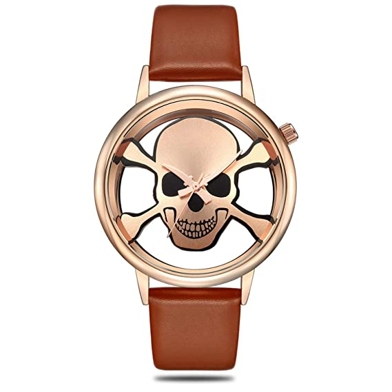 ff321d4e10d9 Luxury Skull Analog Watches for Women Skeleton Brown Gold PU Leather Quartz  Wrist Watch