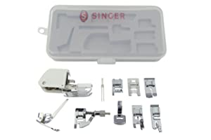 SINGER Sewing Machine Accessory Kit, Including 9 Presser Feet, Twin Needle, and Case, Clear