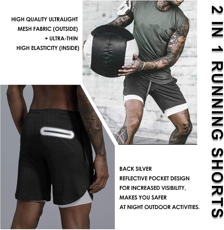 New Men/'s 2-in-1 Running Shorts Training Exercise Jogging Cycling Shorts UK Q8S3