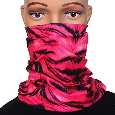 Pink Zebra Motorcycle Face Mask for Women Bikers - Multifunction Seamless Tube Bandana Half Face Shield for Riding ATV Cycling Hiking Camping Fishing Running Dust Protection, Festival Headbands: Sports & Outdoors