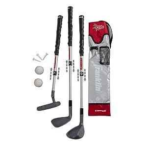 Franklin Sports Kids Golf Club Set - 3 Plastic Golf Clubs, Golf Balls, and Bag - Grey/Red