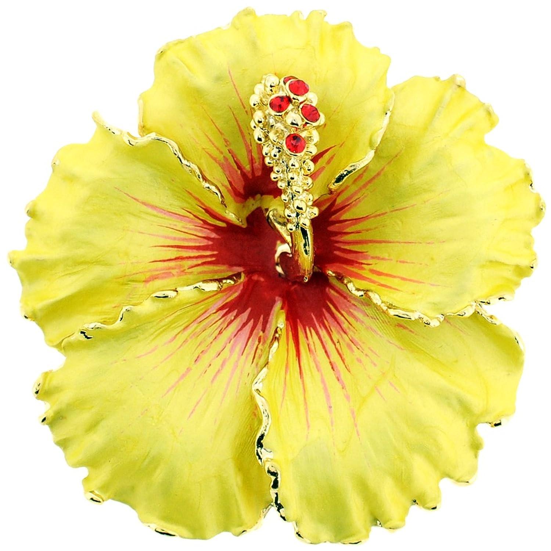 Amazon Yellow Hawaiian Hibiscus Flower Swarovski Crystal Brooch