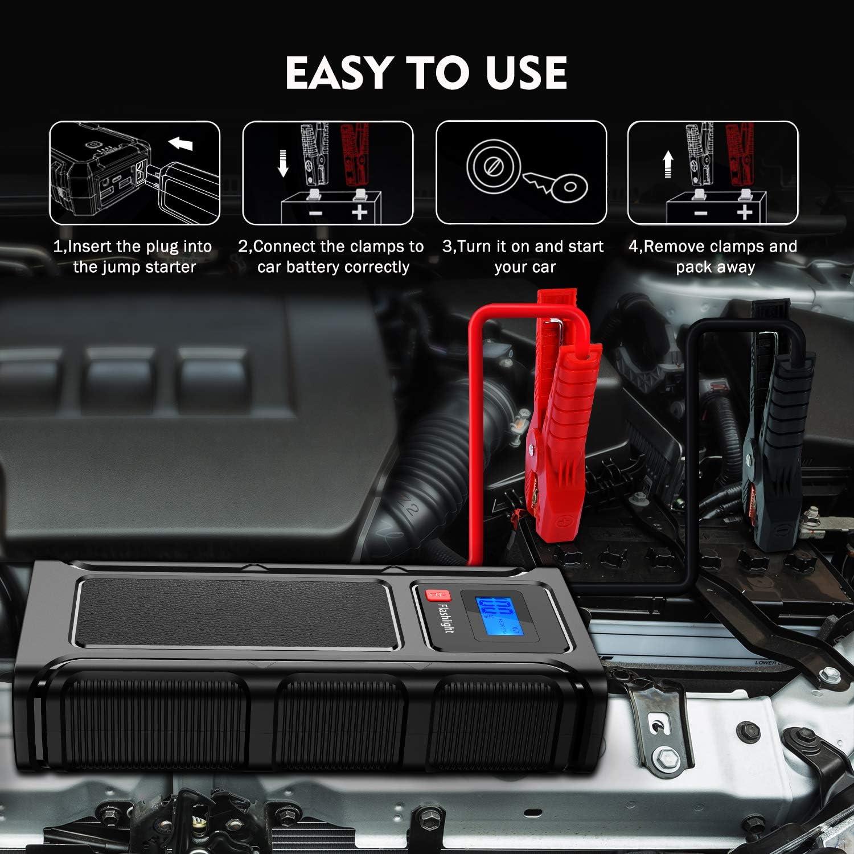 Notfallhammer Tesoky Starthilfe Powerbank,Auto Starthilfe 2000A Spitzenstrom 12000mAh und 12V Autobatterie Anlasser mit USB-Schnellladung 3.0 und LCD Bildschirm Bis zu 6.0L Benzin oder 5.0L Diesel