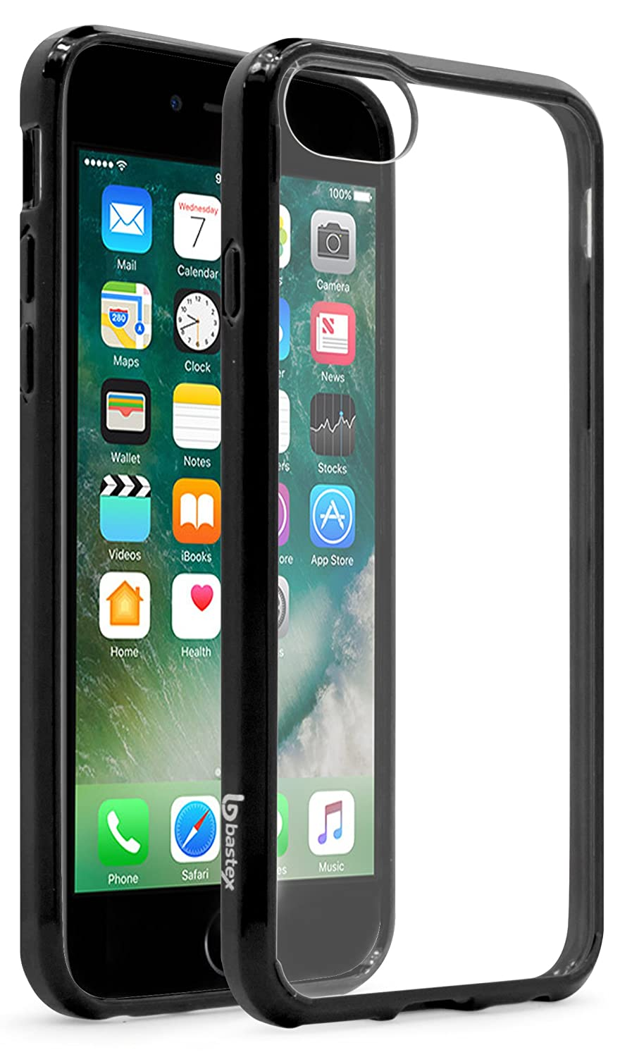 huge selection of 586e6 5581f iPhone 7 Case, Bastex Soft Slim Fit Flexible Clear Transparent Rubber Back  Cover Fused TPU Black Side Bumper Case for Apple iPhone 7