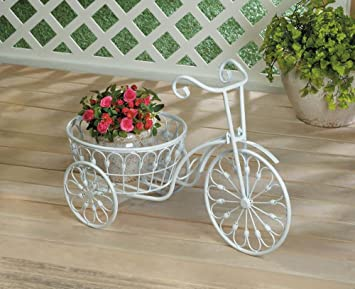 Garden Decor White Shabby Bicycle Planter Stand Indoor Outdoor Iron