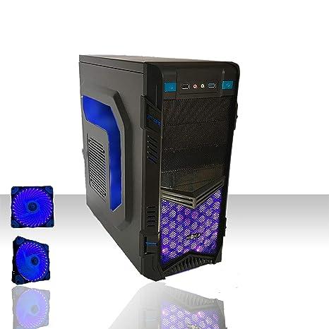 computer fisso da gaming blu  PC DESKTOP LED BLU INTEL QUAD CORE GAMING /WIFI/HD 1TB SATA III/RAM ...