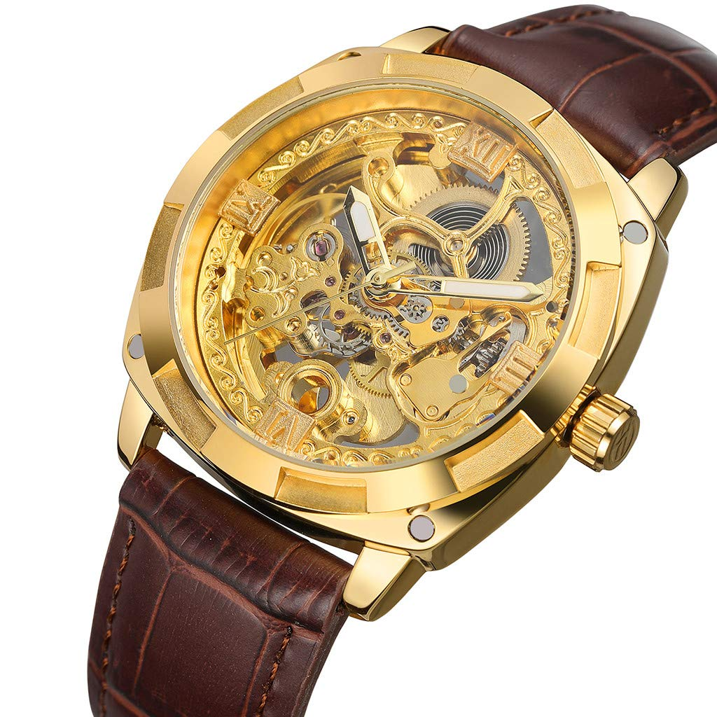 Mechanical Watch for Men - Hollow Automatic Mechanical Watch Waterproof Leather Business Mechanical Watch for Father Men Kids Youth Teens Boyfriend Lover's Birthday Gift by YEZIJIN watch