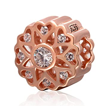 Rose Gold Love Heart Charm Bead 925 Sterling Silver Openwork Flower Charms with Clear Cubic Zircon Bead for European Bracelets dm6EAM