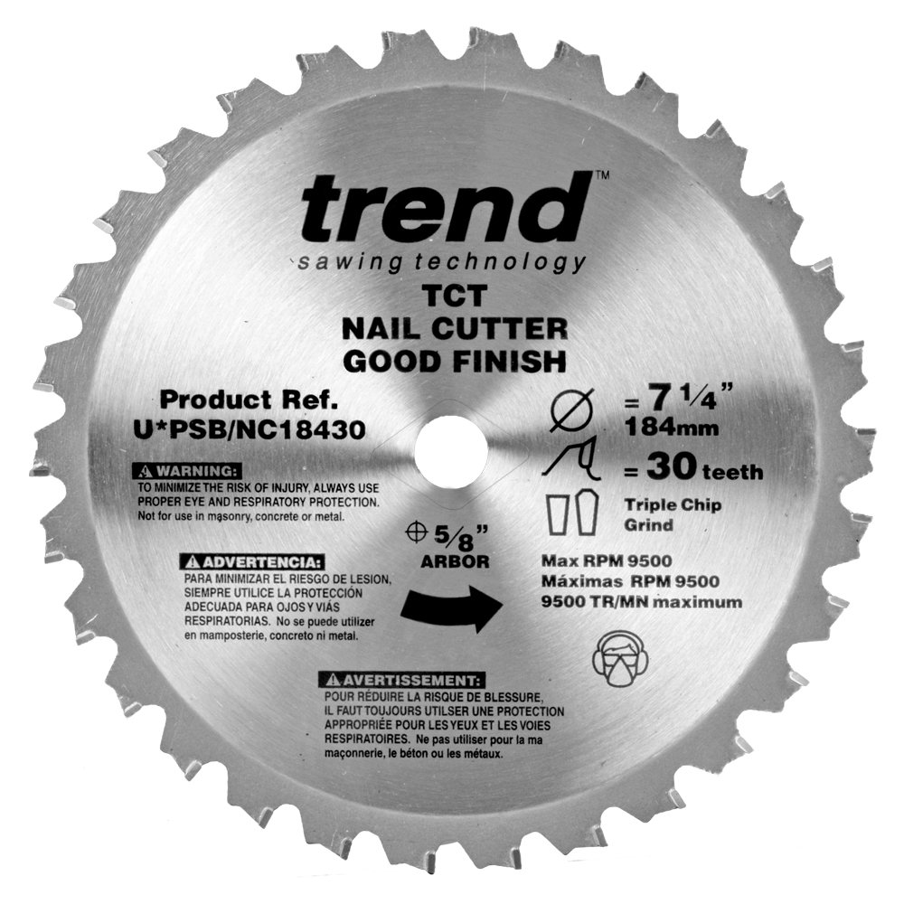 Trend PSB/NC18430 Professional Saw Blade 7-1/4-Inch by 30 Tooth 5/8-Inch Bore Nail Cutting Saw Blade