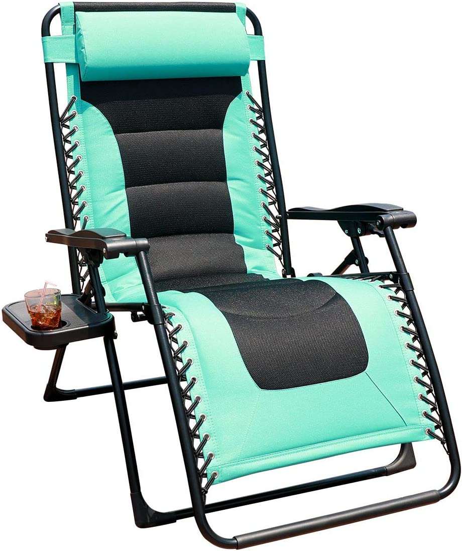 GOLDSUN Oversized Padded Zero Gravity Reclining Chair Adjustable Patio Lounge Chair with Cup Holder for Outdoor Beach Porch,Swimming Pool Blue