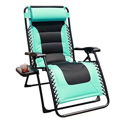 Excellent Goldsun Oversized Padded Zero Gravity Reclining Chair Adjustable Patio Lounge Chair With Cup Holder For Outdoor Beach Porch Swimming Pool Blue Machost Co Dining Chair Design Ideas Machostcouk