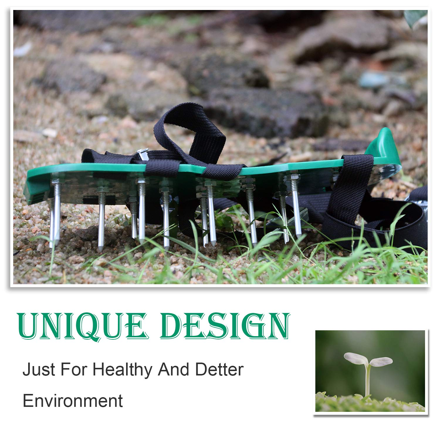 Mavicen Lawn Aerator Shoes with Zinc Alloy Buckles and 4 Adjustable Straps for Aerating Your Yard Roots /& Grass Extra Mini Wrench and 3 Shovels Included Lawn Black