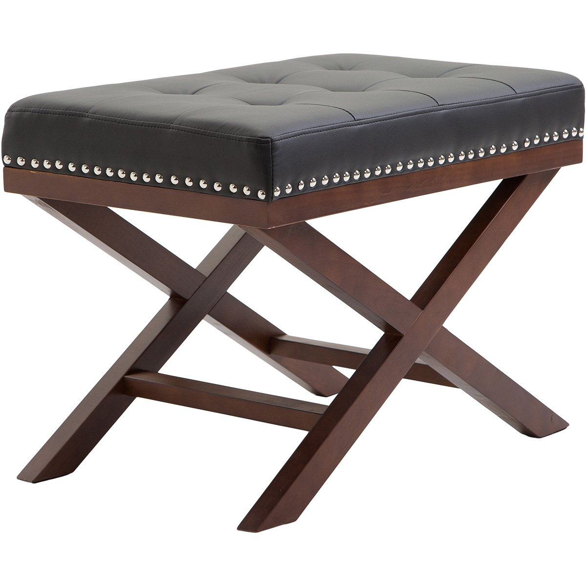 Harper&Bright Designs Upholstered Tufted X Bench Ottoman with Nailhead Detail and Solid Wood Legs (Black)