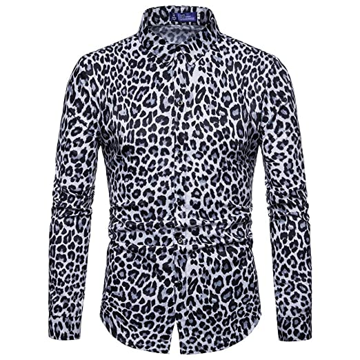 Amazoncom Mens Leopard Print Blouse Long Sleeve Slim Fit