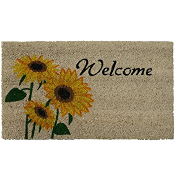 Rubber-Cal Sunflower Welcome Floral Door Mat 18 by 30-Inch  sc 1 st  Amazon.com & Amazon.com : Rubber-Cal Sunflower Welcome Floral Door Mat 18 by ... pezcame.com