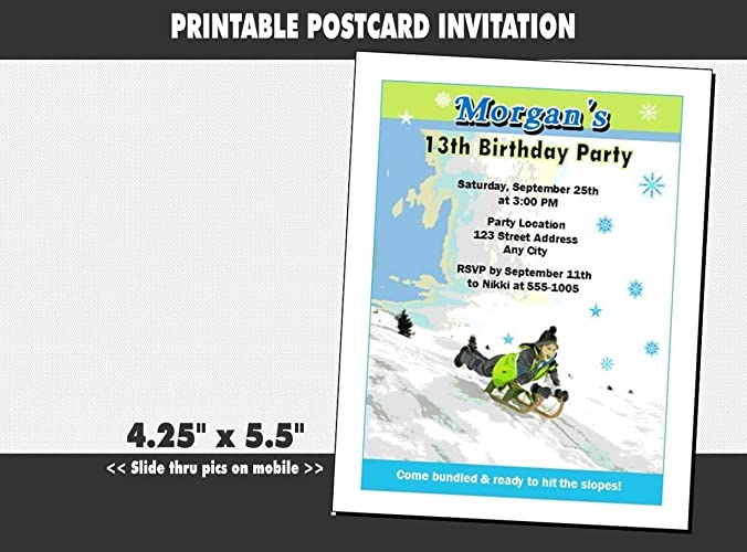 Amazon Com Snow Sledding Birthday Party Invitation Printable Handmade