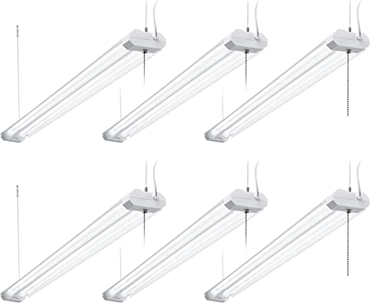 Hyperikon 4 Foot Linkable Led Shop Lights 40w Integrated Fixture 5000k Garage Lights Clear 6 Pack