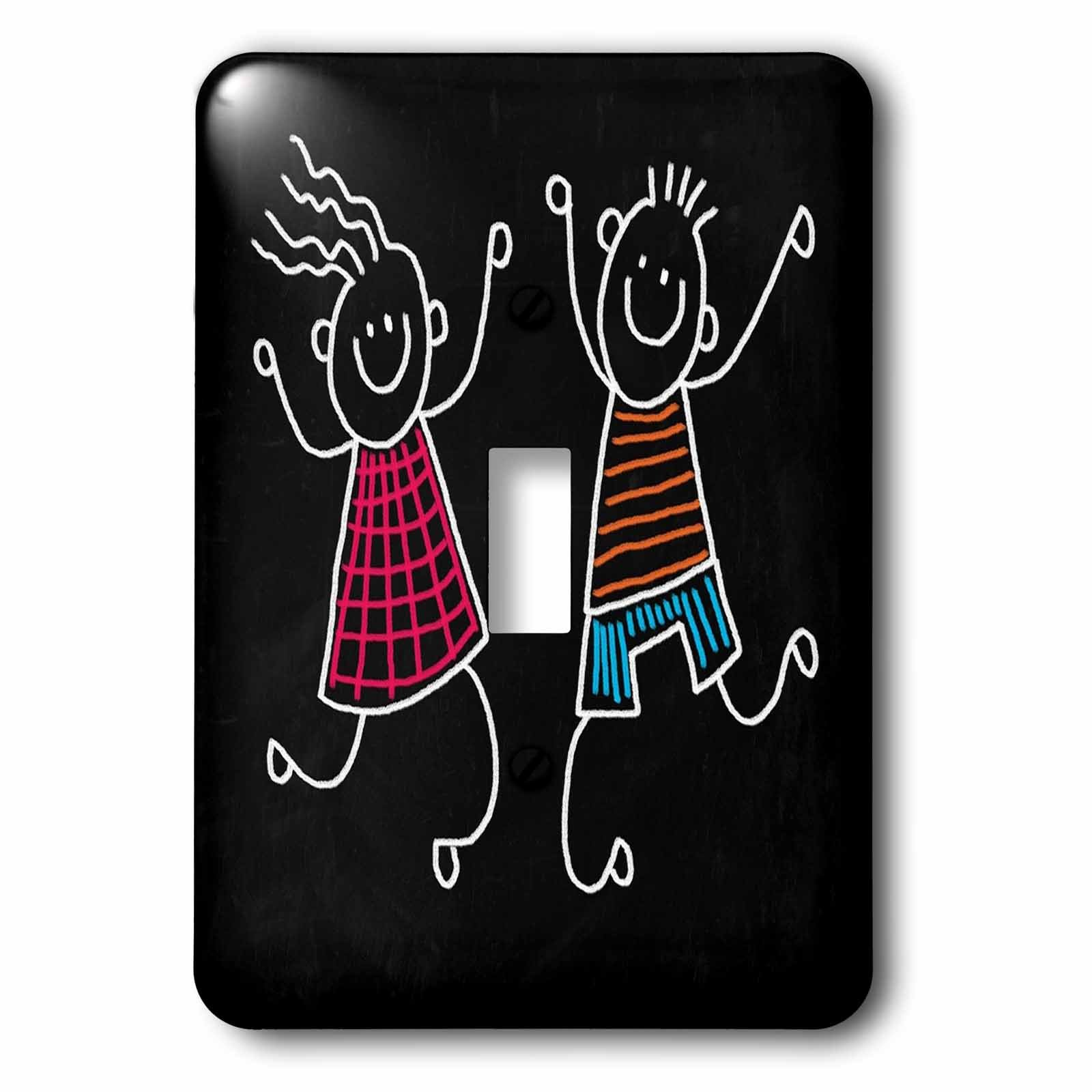 3dRose Florene Childrens Art V - Image Of Painting of Boy and Girl On Chalkboard - Light Switch Covers - single toggle switch (lsp_255317_1)