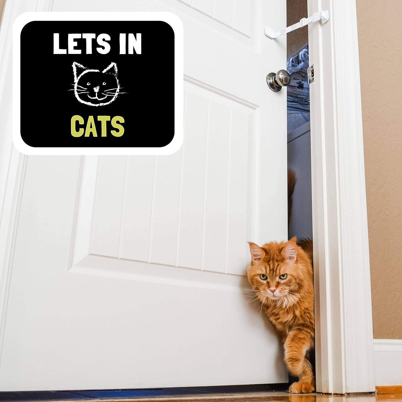 Door Buddy - Bloqueo de Seguridad Para Puerta a Prueba de Perros. Cierre Pestillo y Correa Ajustable sin Montaje. Entrada Fácil Para Gatos y Adultos ¡Tu Perro Dejará de Comer Caca de