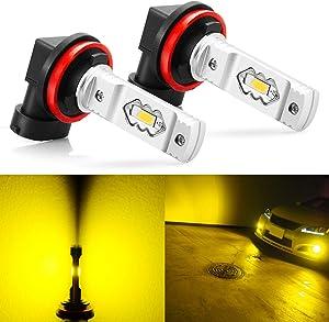JDM ASTAR Super Bright High Power H11 H8 H16 LED Fog Light Bulbs, Golden Yellow
