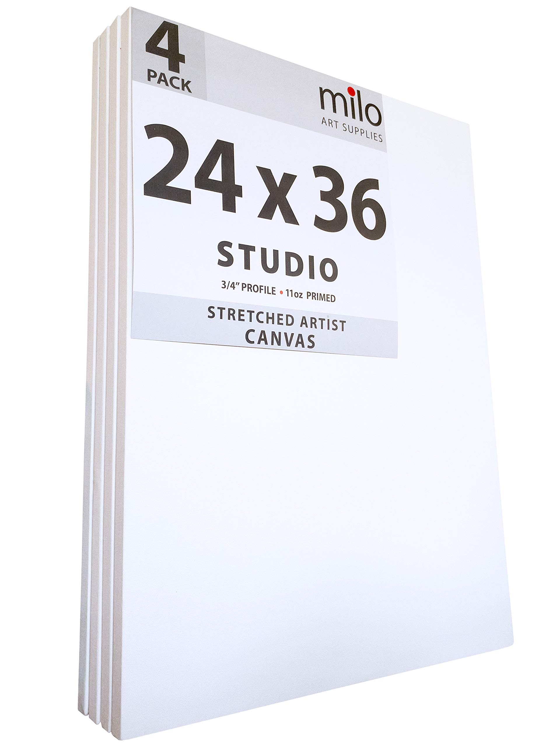 MILO PRO | 24 x 36'' Stretched Canvas Pack of 4 | 3/4'' inch Studio Profile | 11 oz Primed Large Professional Artist Painting Canvases | Ready to Paint White Blank Art Canvas Bulk Set by milo