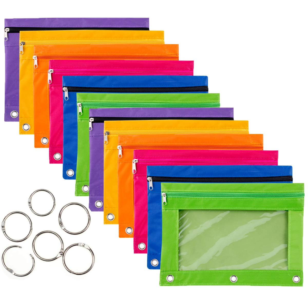 12 Pieces Binder Pencil Pouch with Zipper Pulls 3-Ring with Clear Window Pencil Case with Binder Rings