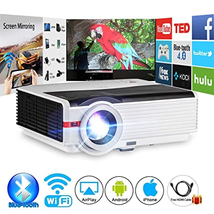 Amazon com: CAIWEI Bluetooth Projector Android 4200 Lumens Wireless