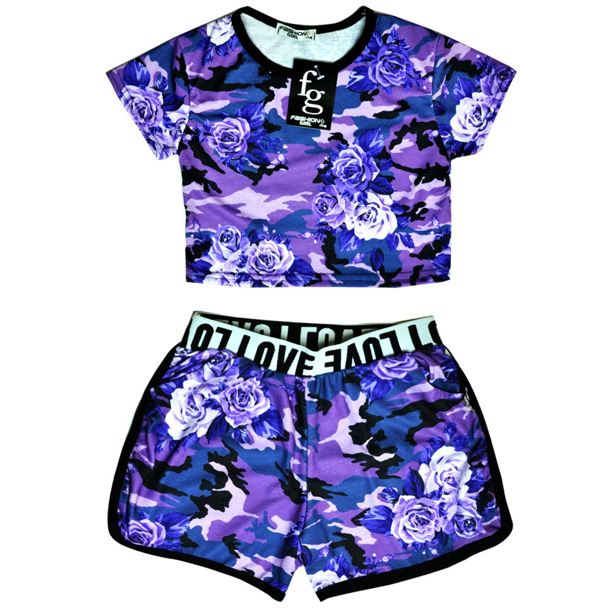 Girls Camo Crop Top And Shorts Outfit New Kids Summer Set Blue Pink Age 5-13 Yrs
