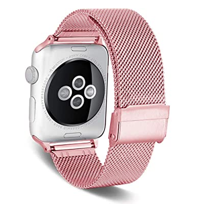 iWatch Series 4 44mm Bands, YiMiky Stainless Steel Watch Band Adjustable Replacement Wristband Sport Bracelet Loop Bands w/Metal Buckle Compatible for iWatch Series 5/4/3/2/1 42mm 44mm, Rose Gold: Kitchen & Dining